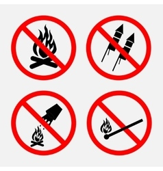 A set of signs prohibiting fire prohibited vector image