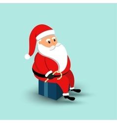 Cartoon Santa Claus sitting on a gift box vector image vector image