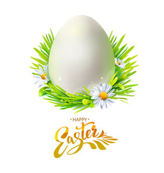 easter egg with grass on white vector image