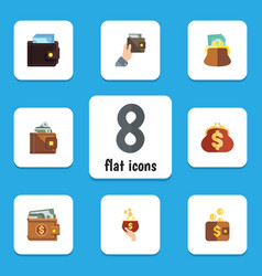 flat icon purse set of saving billfold money and vector image