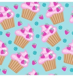 Muffins cupcakes seamless pattern delicious cake vector