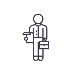 assistant line icon sign on vector image