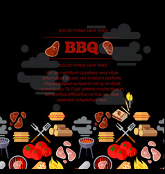 bbq party poster design with barbeque and meat vector image vector image