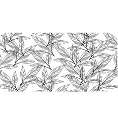 black and white seamless leaves vector image vector image