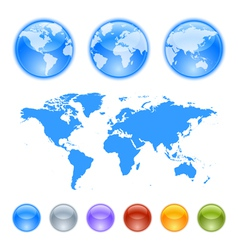 Earth globes creation kit vector image vector image