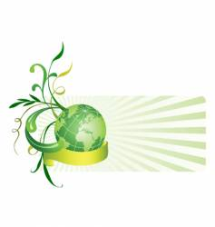 floral background with globe vector image