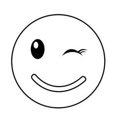 happy emoticon face kawaii style vector image