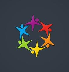 star circle people diversity logo vector image vector image