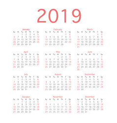 2019 calendar year simple calendar layout for vector image