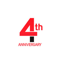 4 years anniversary logotype with black and red vector