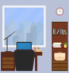 a desktop with a laptop and a desk lamp in the vector image