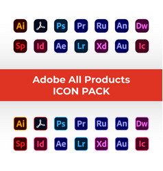 Adobe all software product icon pack set vector