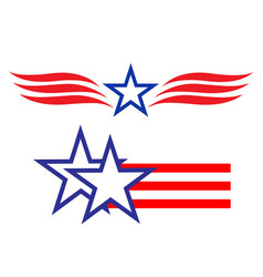 American star symbols signs logo set vector