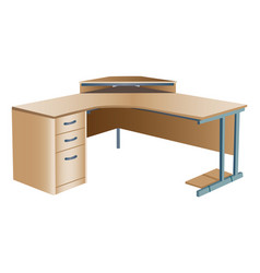 angled corner office desk vector image