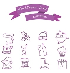 Art of Christmas icons vector