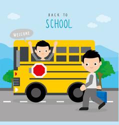 back to school bus road boy cartoon vector image