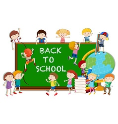 Back to school theme with kids and board vector image vector image