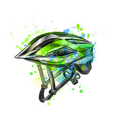 Bicycle helmet from a splash watercolor hand vector