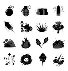 bomb explode icon set vector image