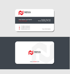 Business card with jagged ribbon red letter n vector