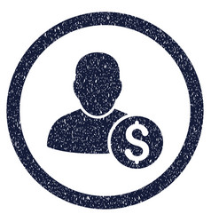 businessman rounded grainy icon vector image