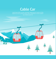 cartoon car cabins cableway in mountains card vector image