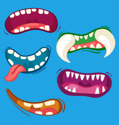Cartoon cute monster mouths set with different vector