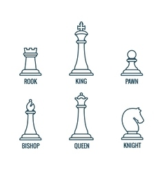 Chess pieces thin line icons king queen vector