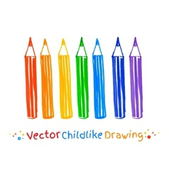 Childlike drawing of pencils vector image