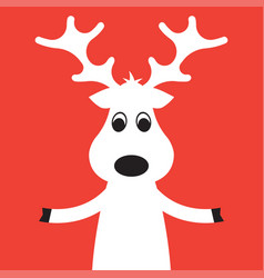 christmas moose on a red background vector image