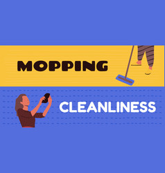 Cleaning floors and cleaning rooms vector