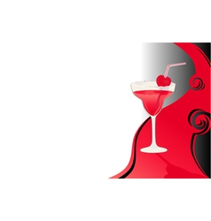 Cocktail card black and red vector