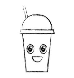 coffee cup plastic kawaii character vector image