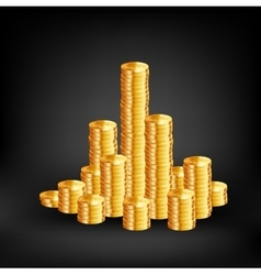 Coins on black background vector image