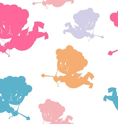 Colored Cupids seamless ornament Silhouettes of vector