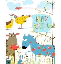 Colorful Funny Cartoon Farm Domestic Animals vector