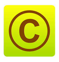 Copyright sign brown icon at vector