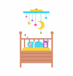 cradle baby sleeping newborn kid with toys vector image