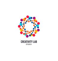 creativity lab logo bubbles or dots icon vector image