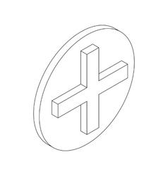 Cross symbol icon isometric 3d style vector