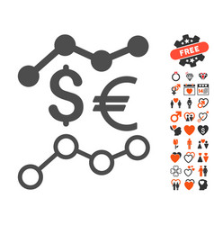 Currency trends icon with love bonus vector