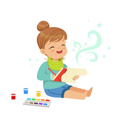 Cute little girl drawing with paints in her vector