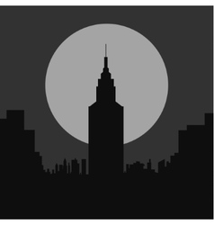 Dark gloomy night city flat silhouette vector