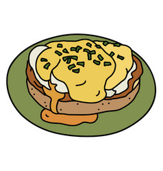 Eggs benedict on a green small saucer vector