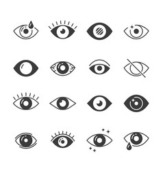 Eye icons human eyes vision and view signs vector