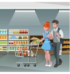 family shopping characters vector image