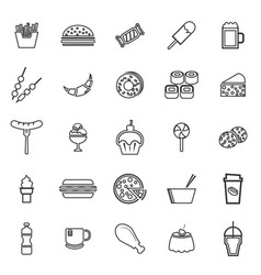 fast food line icons on white background vector image