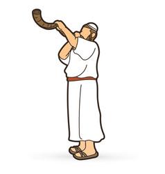 feast trumpets jewish blowing shofar horn vector image