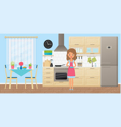 female character in kitchen in flat design vector image