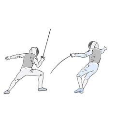 Fencing championship fencers at tournament vector
